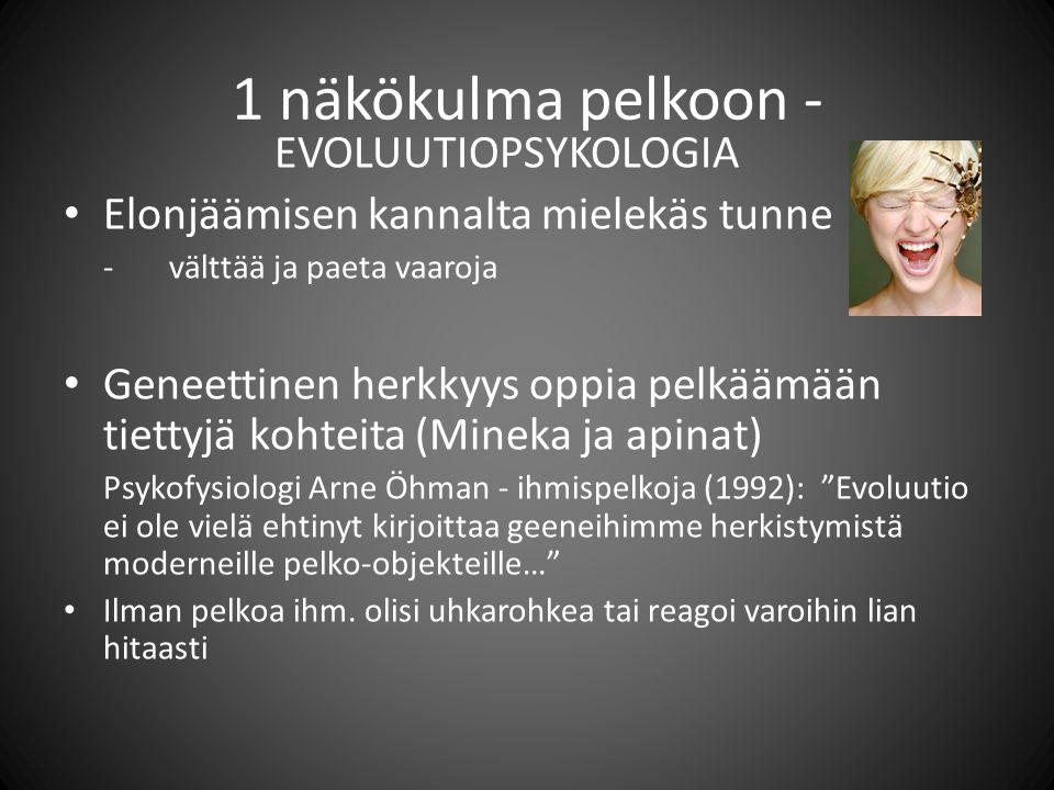 1 näkökulma pelkoon - EVOLUUTIOPSYKOLOGIA