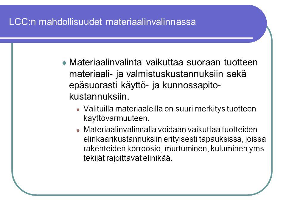 LCC:n mahdollisuudet materiaalinvalinnassa
