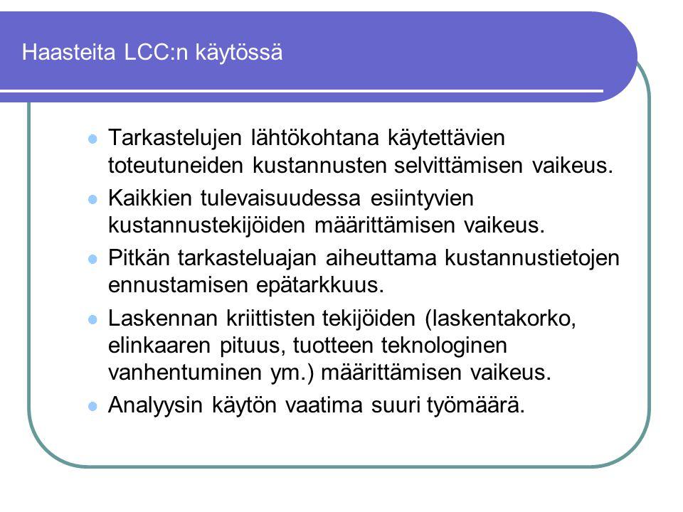 Haasteita LCC:n käytössä
