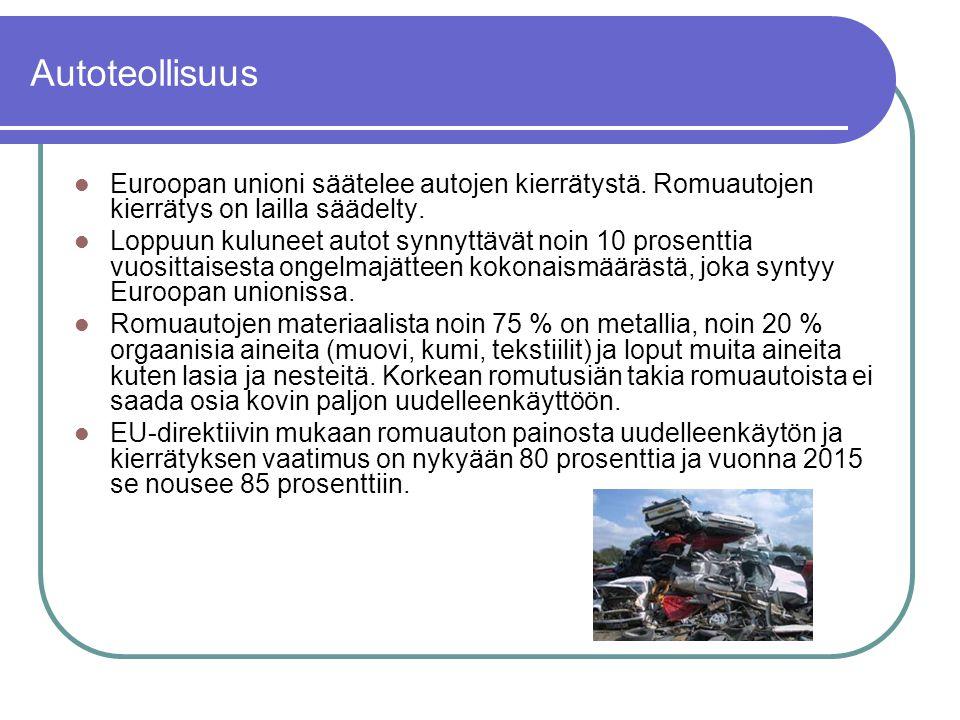 Autoteollisuus Euroopan unioni säätelee autojen kierrätystä. Romuautojen kierrätys on lailla säädelty.
