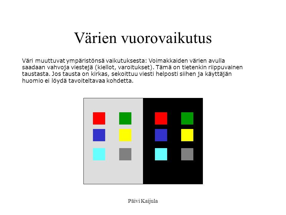 Värien vuorovaikutus Väri muuttuvat ympäristönsä vaikutuksesta: Voimakkaiden värien avulla.