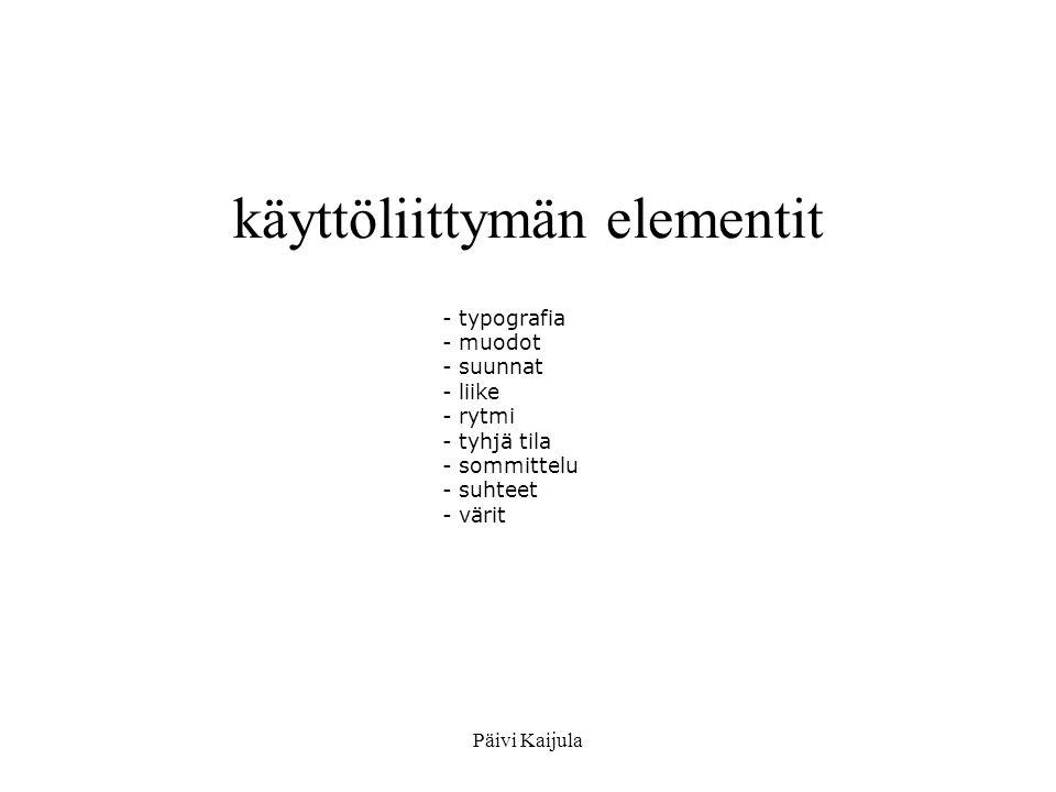 käyttöliittymän elementit
