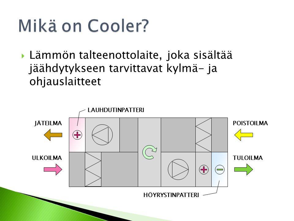 Mikä on Cooler Lämmön talteenottolaite, joka sisältää jäähdytykseen tarvittavat kylmä- ja ohjauslaitteet.