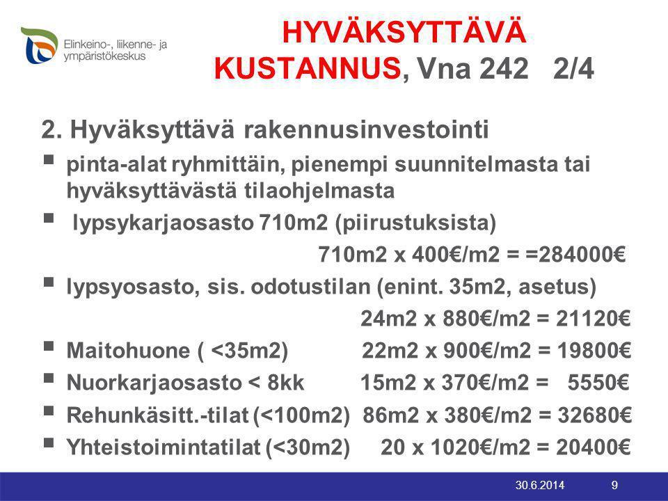 HYVÄKSYTTÄVÄ KUSTANNUS, Vna 242 2/4