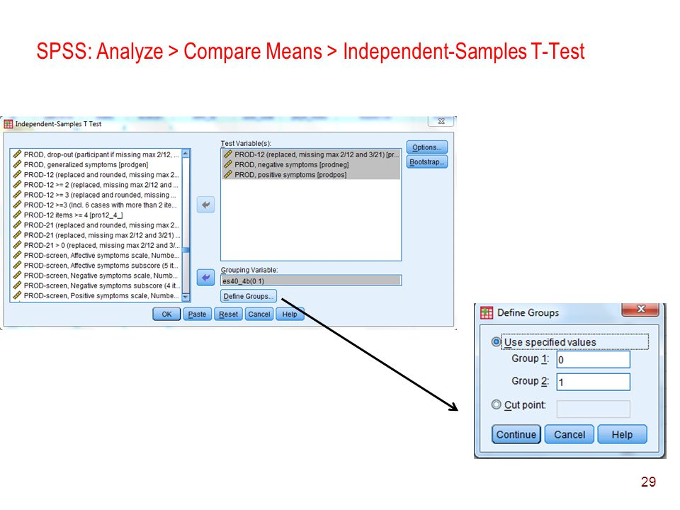 SPSS: Analyze > Compare Means > Independent-Samples T-Test