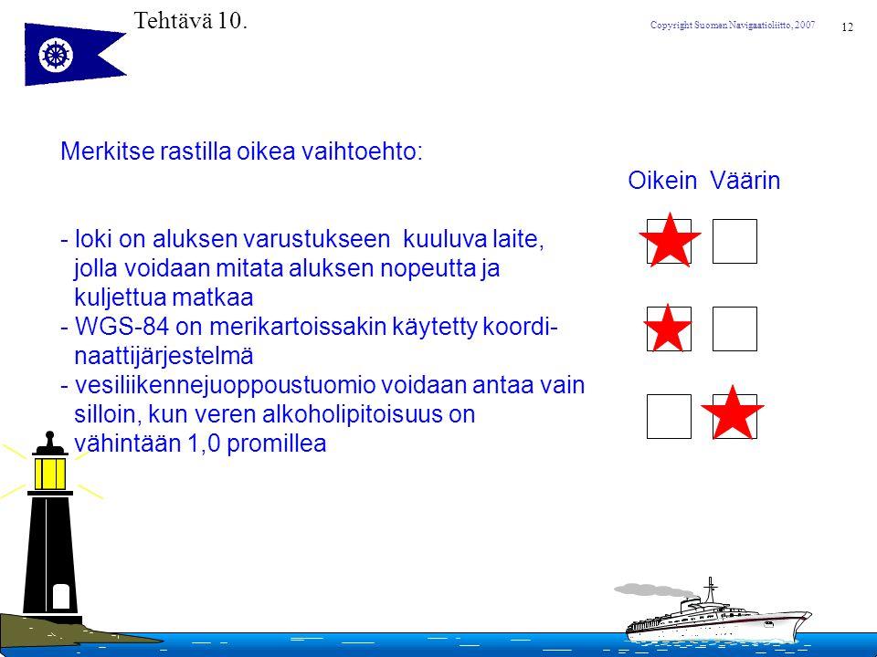 Tehtävä 10. Merkitse rastilla oikea vaihtoehto: Oikein Väärin. loki on aluksen varustukseen kuuluva laite,