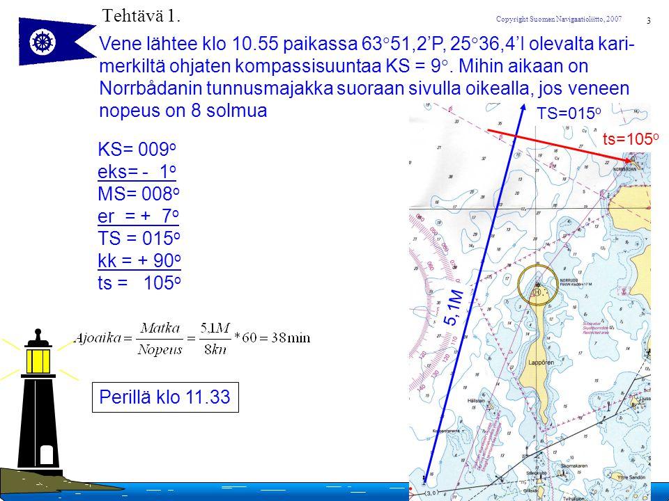 Vene lähtee klo 10.55 paikassa 6351,2'P, 2536,4'I olevalta kari-