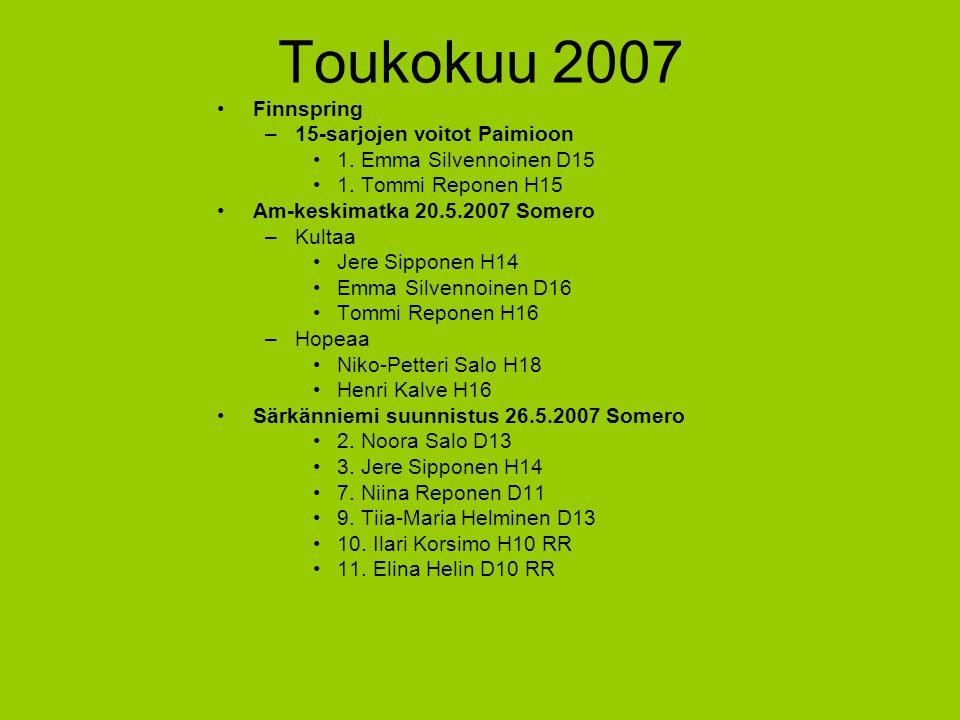 Toukokuu 2007 Finnspring 15-sarjojen voitot Paimioon