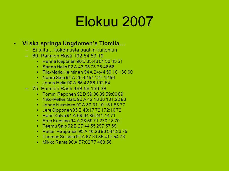 Elokuu 2007 Vi ska springa Ungdomen's Tiomila…