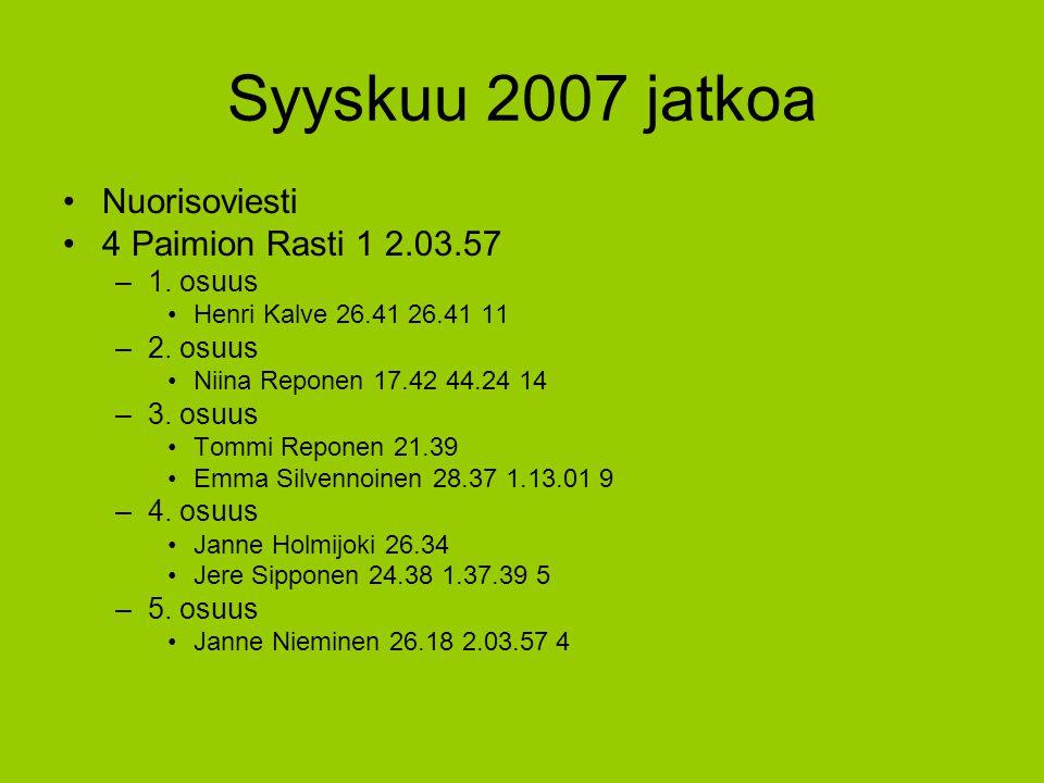 Syyskuu 2007 jatkoa Nuorisoviesti 4 Paimion Rasti 1 2.03.57 1. osuus