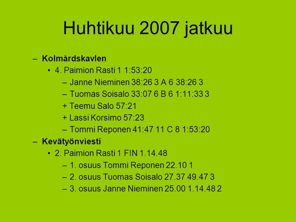 Huhtikuu 2007 jatkuu Kolmårdskavlen 4. Paimion Rasti 1 1:53:20
