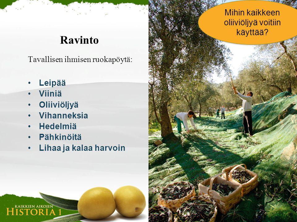 Mihin kaikkeen oliiviöljyä voitiin käyttää