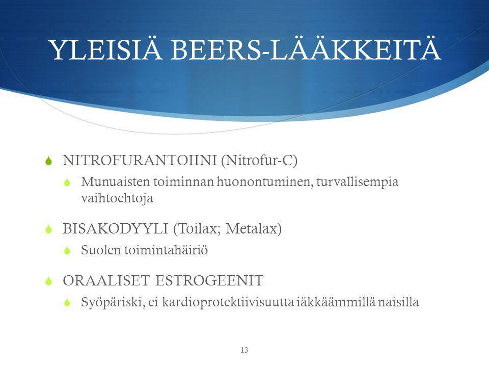 YLEISIÄ BEERS-LÄÄKKEITÄ