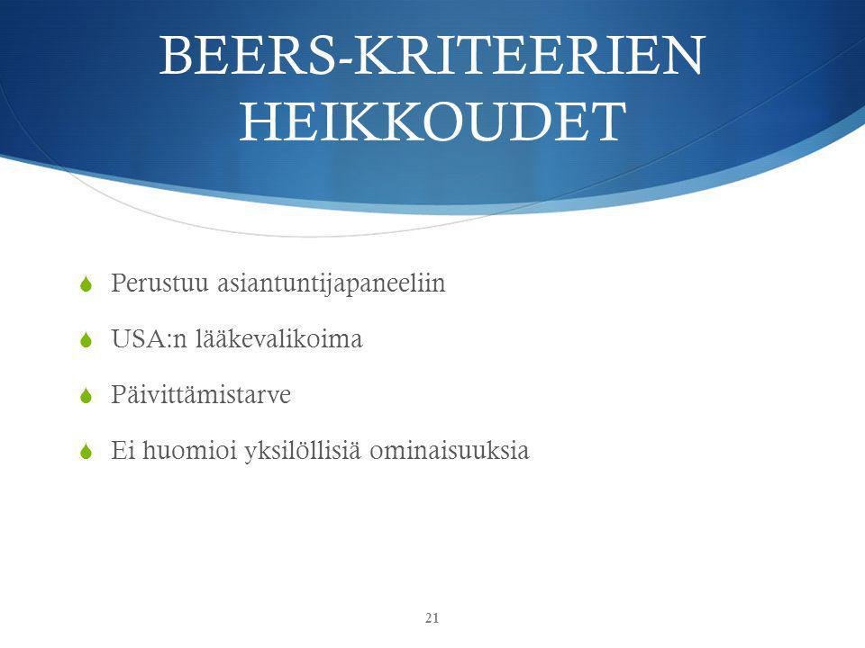 BEERS-KRITEERIEN HEIKKOUDET