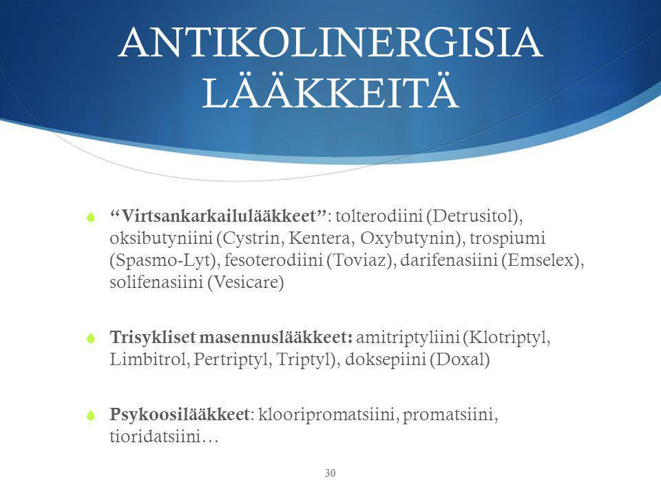 ANTIKOLINERGISIA LÄÄKKEITÄ