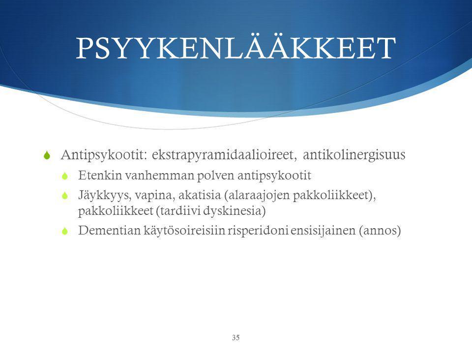 PSYYKENLÄÄKKEET Antipsykootit: ekstrapyramidaalioireet, antikolinergisuus. Etenkin vanhemman polven antipsykootit.