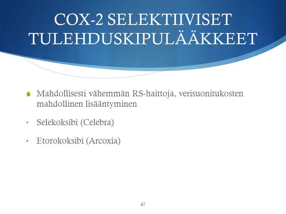 COX-2 SELEKTIIVISET TULEHDUSKIPULÄÄKKEET