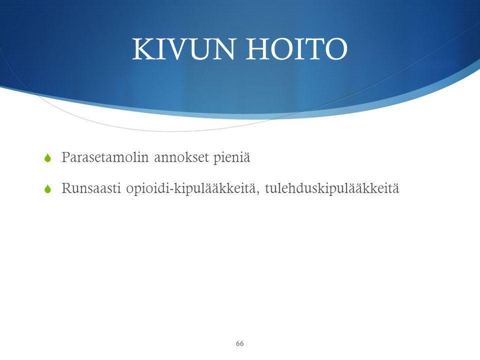 KIVUN HOITO Parasetamolin annokset pieniä