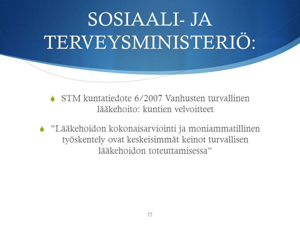 SOSIAALI- JA TERVEYSMINISTERIÖ: