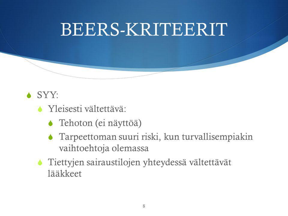 BEERS-KRITEERIT SYY: Yleisesti vältettävä: Tehoton (ei näyttöä)