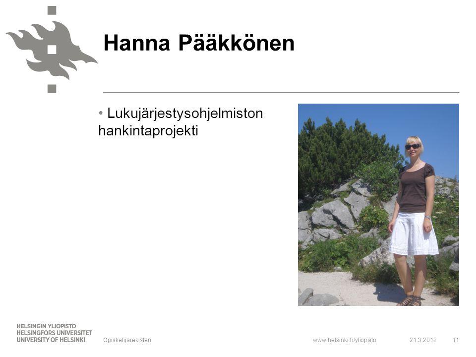 Hanna Pääkkönen Lukujärjestysohjelmiston hankintaprojekti