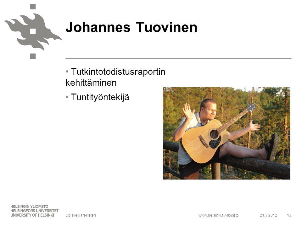 Johannes Tuovinen Tutkintotodistusraportin kehittäminen