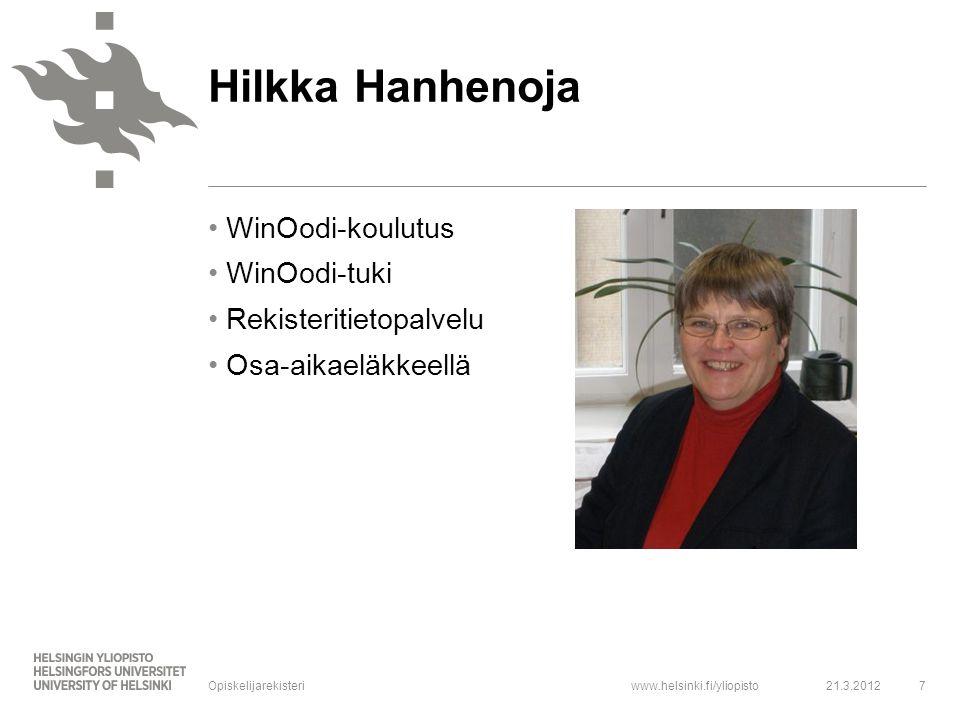 Hilkka Hanhenoja WinOodi-koulutus WinOodi-tuki Rekisteritietopalvelu