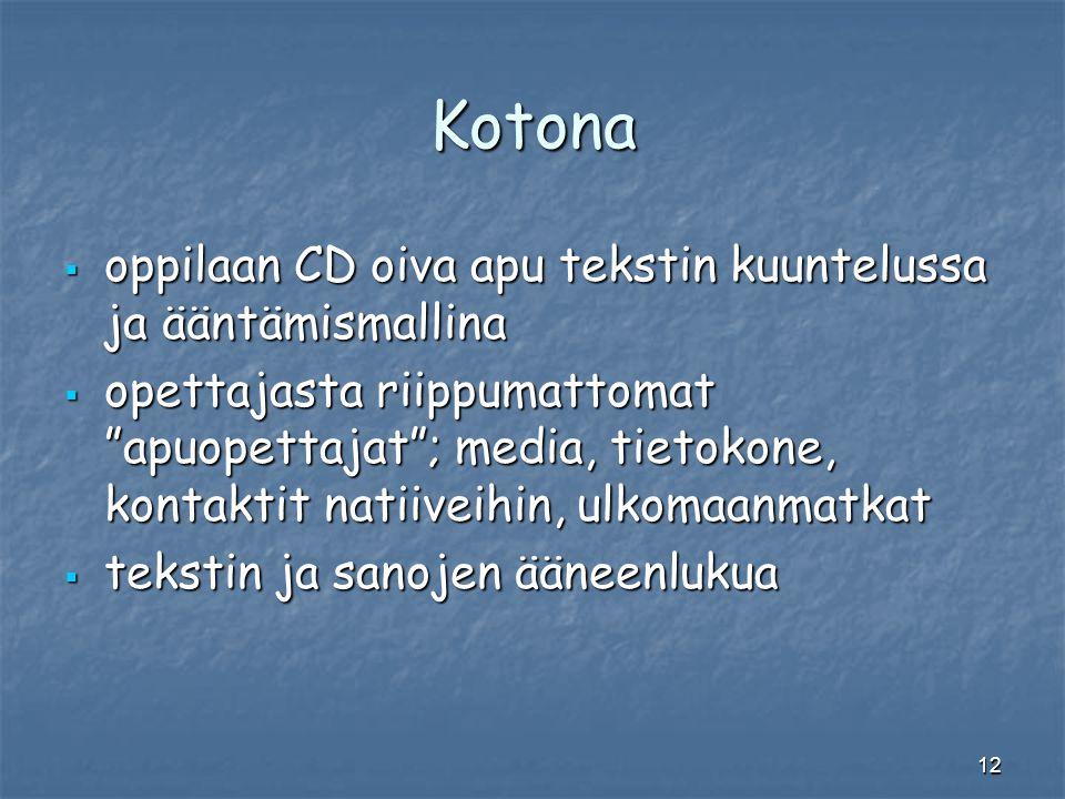 Kotona oppilaan CD oiva apu tekstin kuuntelussa ja ääntämismallina