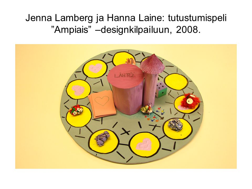 Jenna Lamberg ja Hanna Laine: tutustumispeli Ampiais –designkilpailuun, 2008.