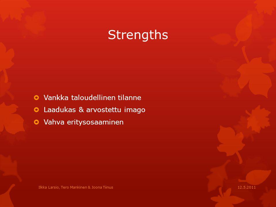 Strengths Vankka taloudellinen tilanne Laadukas & arvostettu imago