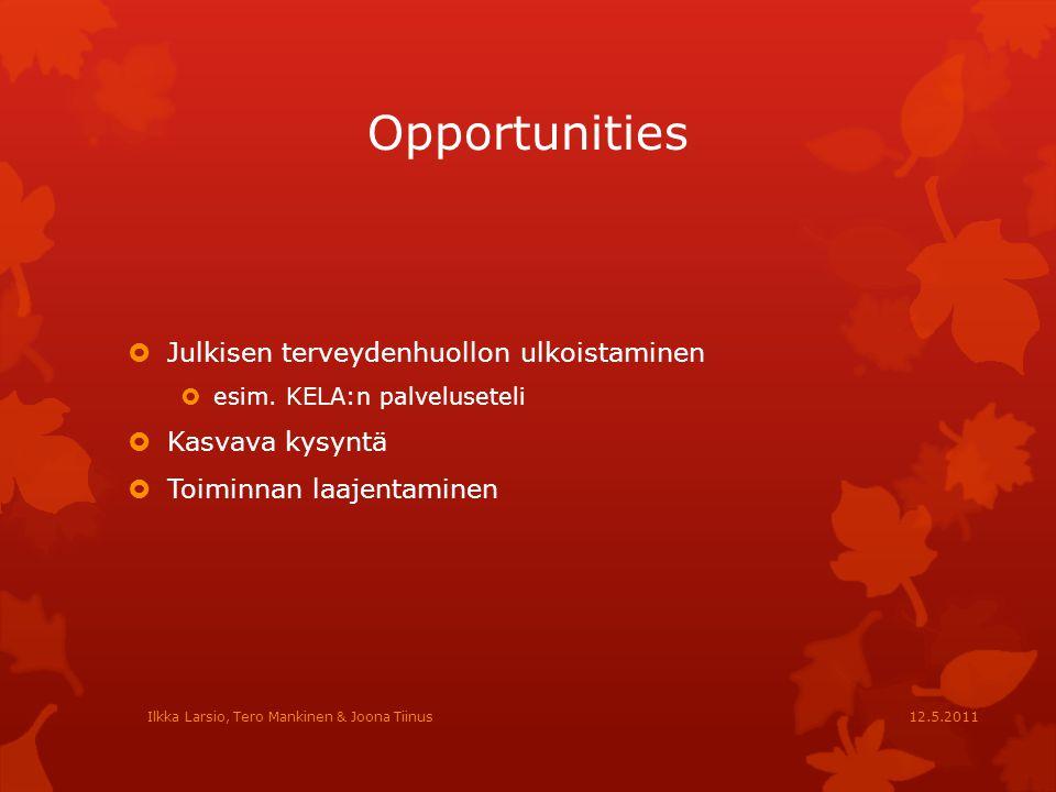 Opportunities Julkisen terveydenhuollon ulkoistaminen Kasvava kysyntä