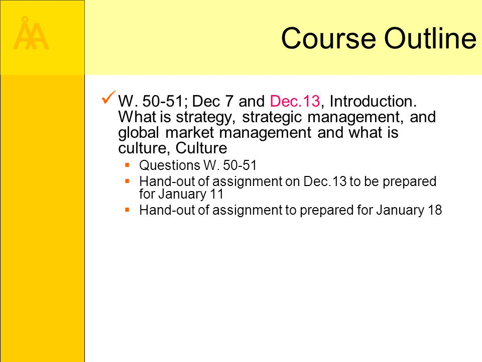 Course outline strategic management