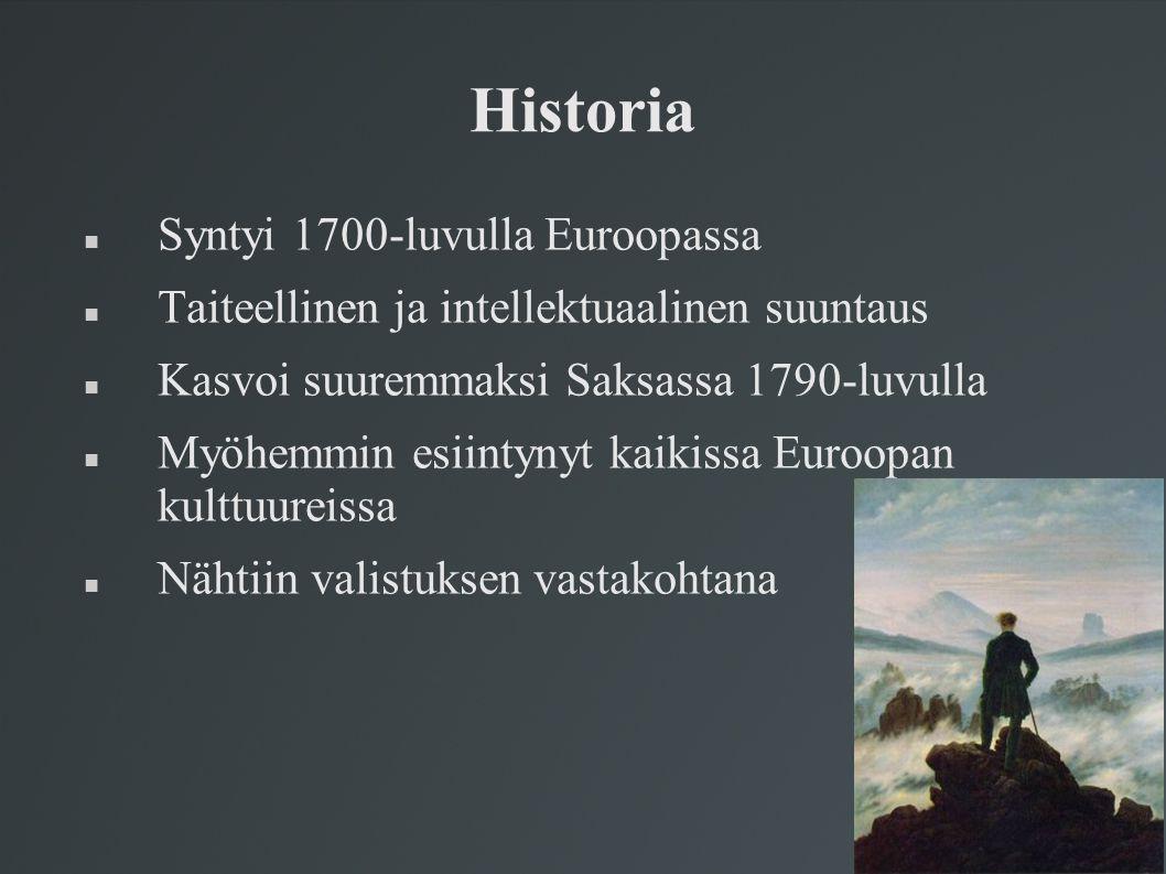 Historia Syntyi 1700-luvulla Euroopassa