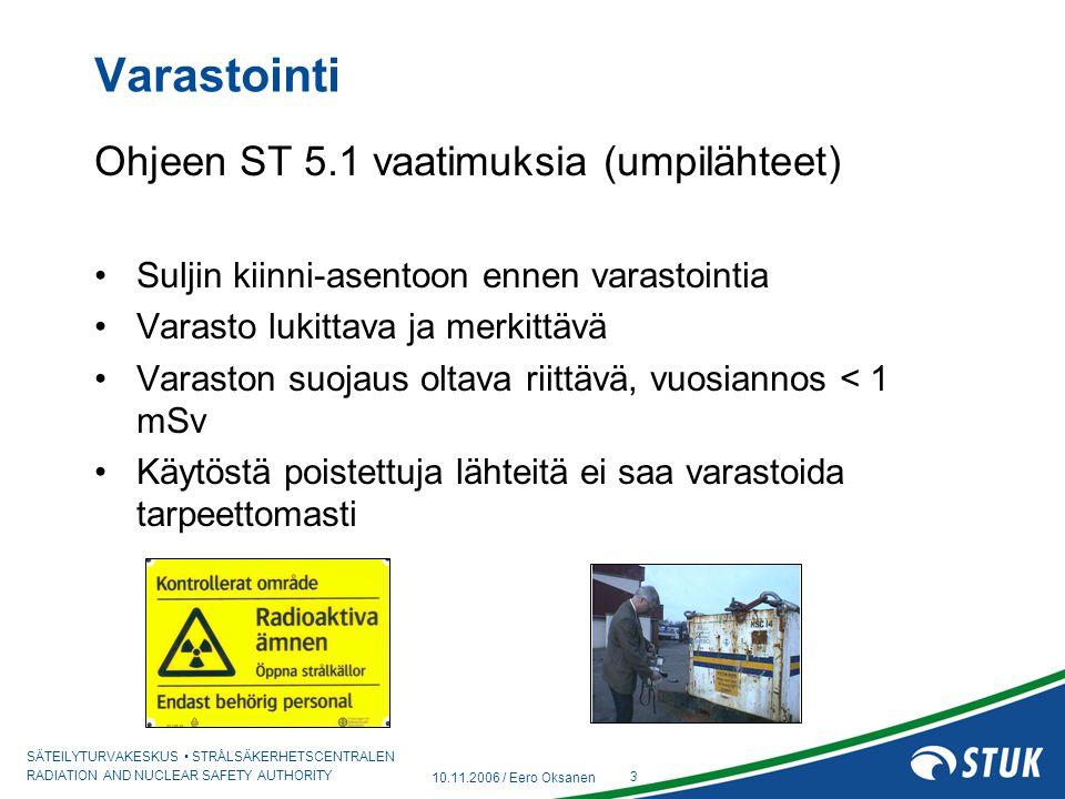 Varastointi Ohjeen ST 5.1 vaatimuksia (umpilähteet)