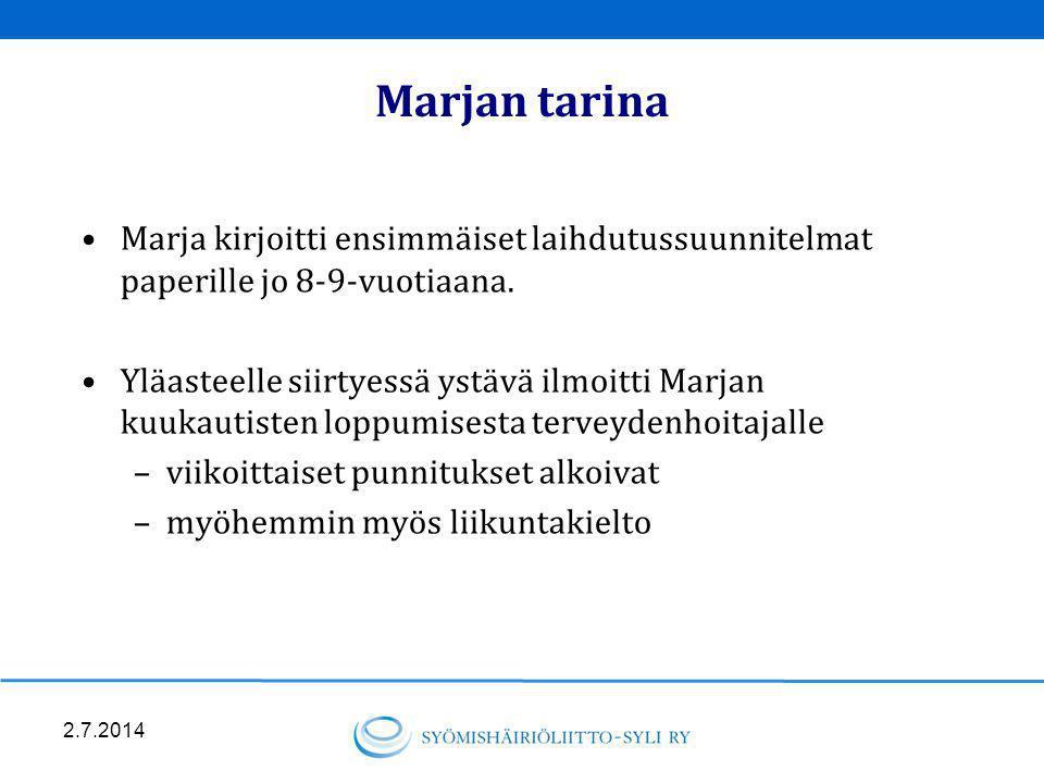 Marjan tarina Marja kirjoitti ensimmäiset laihdutussuunnitelmat paperille jo 8-9-vuotiaana.