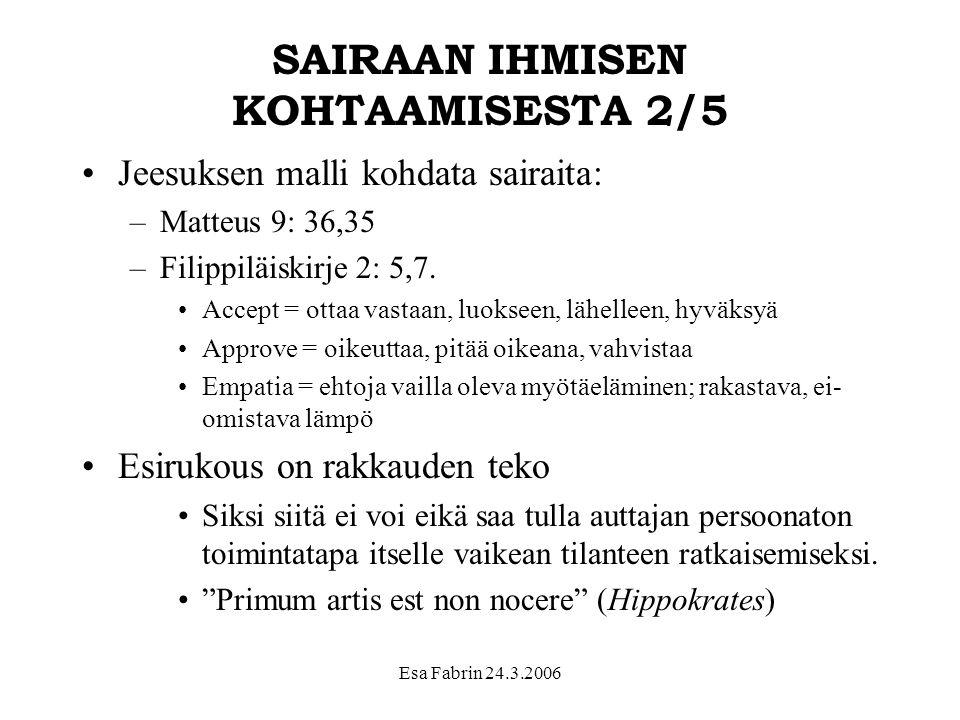 SAIRAAN IHMISEN KOHTAAMISESTA 2/5