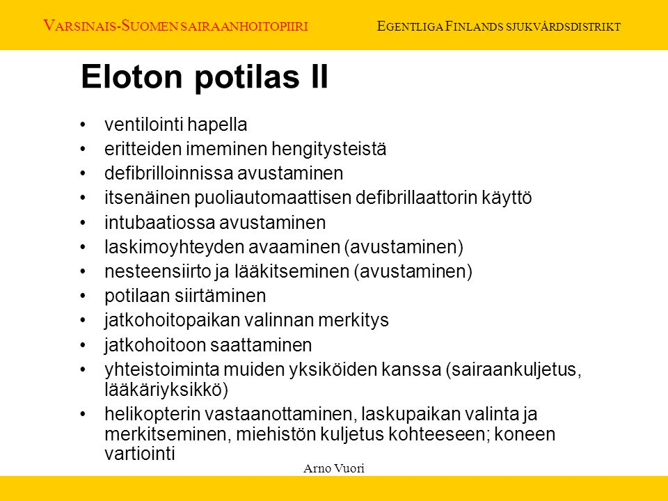 Eloton potilas II ventilointi hapella