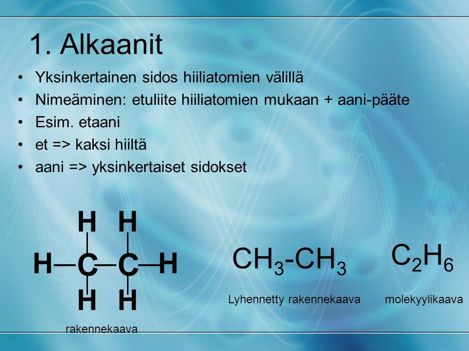 C 1. Alkaanit H C2H6 CH3-CH3 Yksinkertainen sidos hiiliatomien välillä