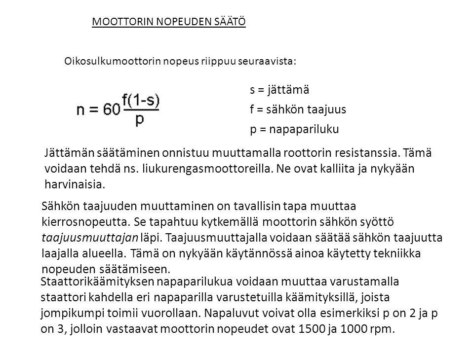 s = jättämä f = sähkön taajuus p = napapariluku