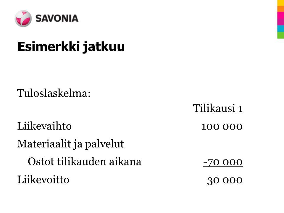 Esimerkki jatkuu Tuloslaskelma: Tilikausi 1 Liikevaihto 100 000 Materiaalit ja palvelut Ostot tilikauden aikana -70 000 Liikevoitto 30 000