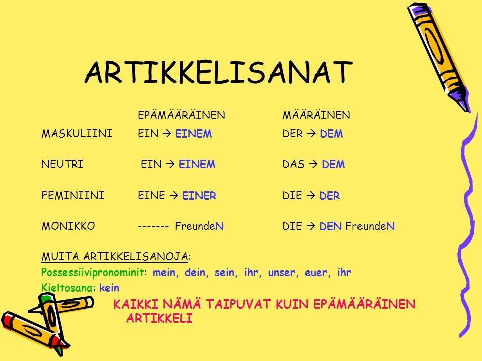 ARTIKKELISANAT EPÄMÄÄRÄINEN MÄÄRÄINEN