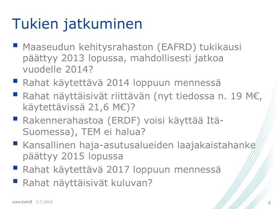 Tukien jatkuminen Maaseudun kehitysrahaston (EAFRD) tukikausi päättyy 2013 lopussa, mahdollisesti jatkoa vuodelle 2014