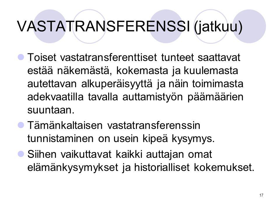 VASTATRANSFERENSSI (jatkuu)