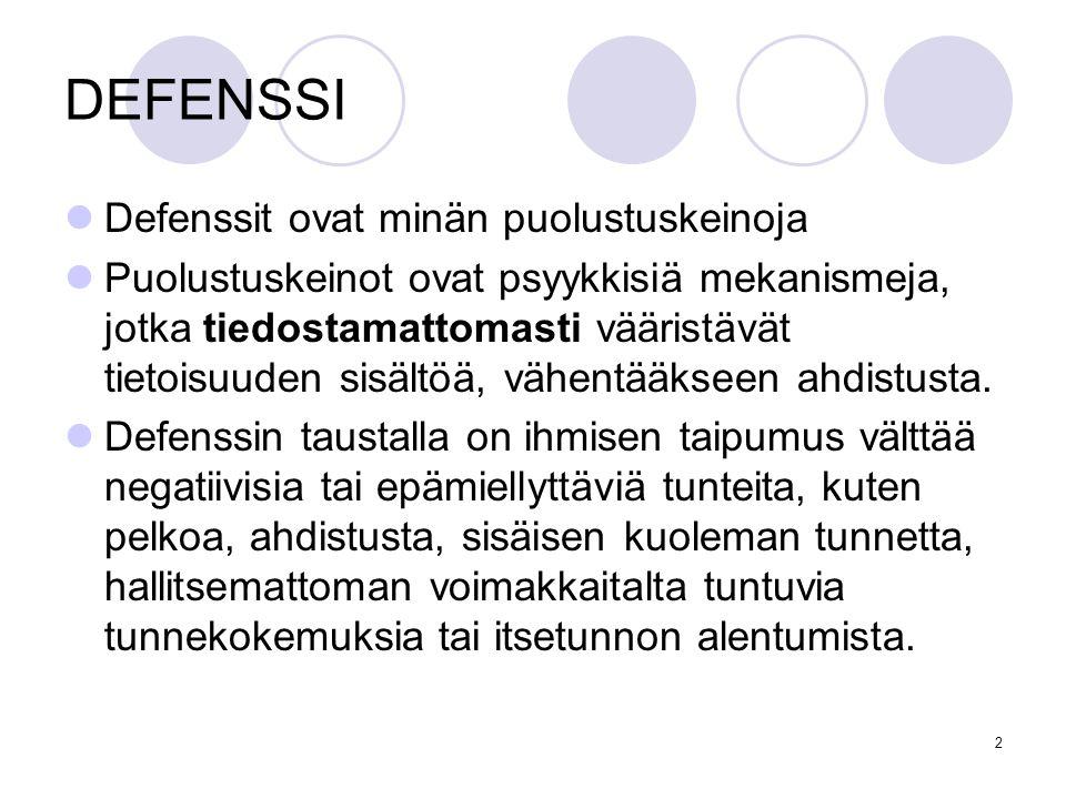 DEFENSSI Defenssit ovat minän puolustuskeinoja
