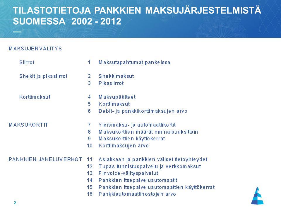 TILASTOTIETOJA PANKKIEN MAKSUJÄRJESTELMISTÄ SUOMESSA 2002 - 2012