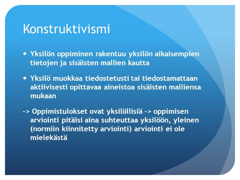 Konstruktivismi Yksilön oppiminen rakentuu yksilön aikaisempien tietojen ja sisäisten mallien kautta.