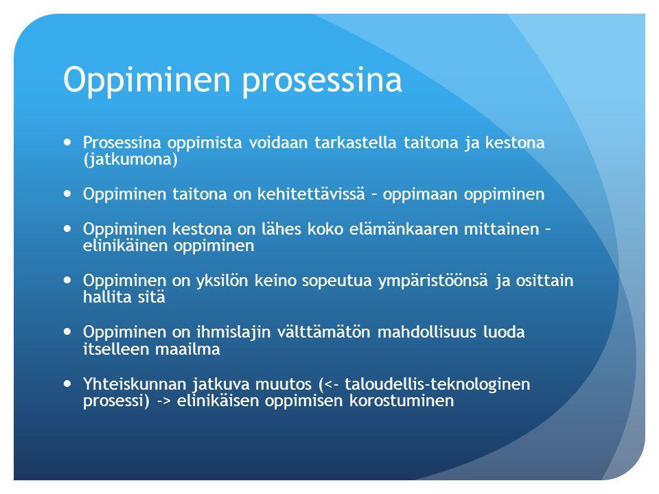 Oppiminen prosessina Prosessina oppimista voidaan tarkastella taitona ja kestona (jatkumona)