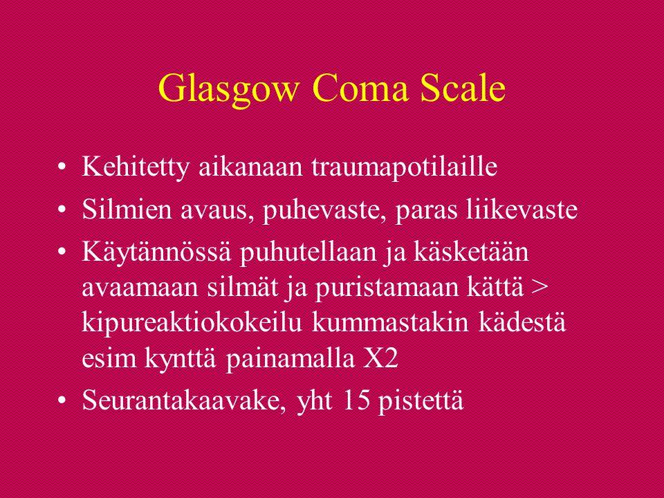 Glasgow Coma Scale Kehitetty aikanaan traumapotilaille