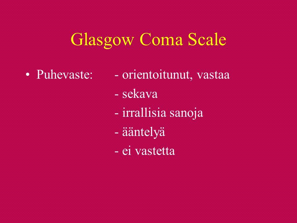 Glasgow Coma Scale Puhevaste: - orientoitunut, vastaa - sekava