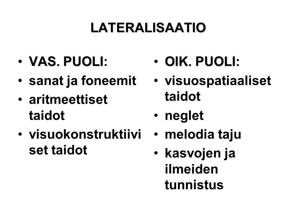 LATERALISAATIO VAS. PUOLI: sanat ja foneemit. aritmeettiset taidot. visuokonstruktiiviset taidot.